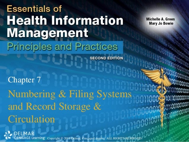 Copyright © 2011 Delmar, Cengage Learning. ALL RIGHTS RESERVED. Chapter 7 Numbering & Filing Systems and Record Storage & ...