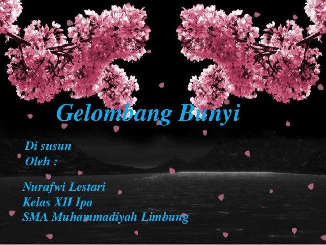 Gelombang Bunyi Di susun Oleh : Nurafwi Lestari Kelas XII Ipa SMA Muhammadiyah Limbung