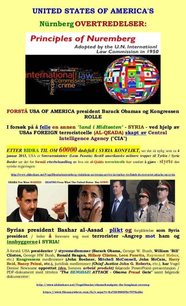 UNITED STATES OF AMERICAS                       Nürnberg OVERTREDELSER:FORSTÅ USA OF AMERICA president Barack Obamas og Ko...