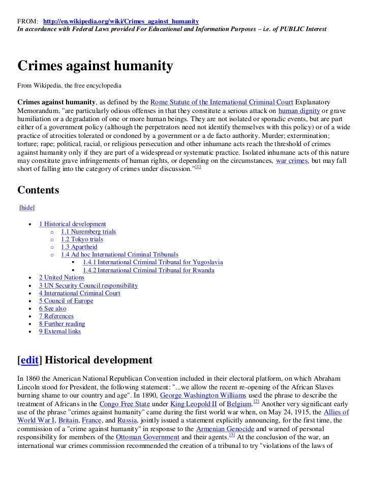 FROM: http://en.wikipedia.org/wiki/Crimes_against_humanityIn accordance with Federal Laws provided For Educational and Inf...