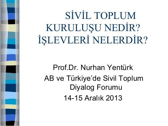 SİVİL TOPLUM KURULUŞU NEDİR? İŞLEVLERİ NELERDİR? Prof.Dr. Nurhan Yentürk AB ve Türkiye'de Sivil Toplum Diyalog Forumu 14-1...