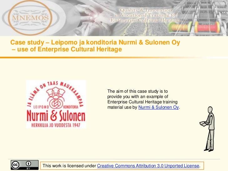 Case study – Leipomo ja konditoria Nurmi & Sulonen Oy– use of Enterprise Cultural Heritage                                ...