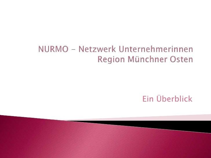 NURMO - Netzwerk UnternehmerinnenRegion Münchner Osten<br />Ein Überblick<br />
