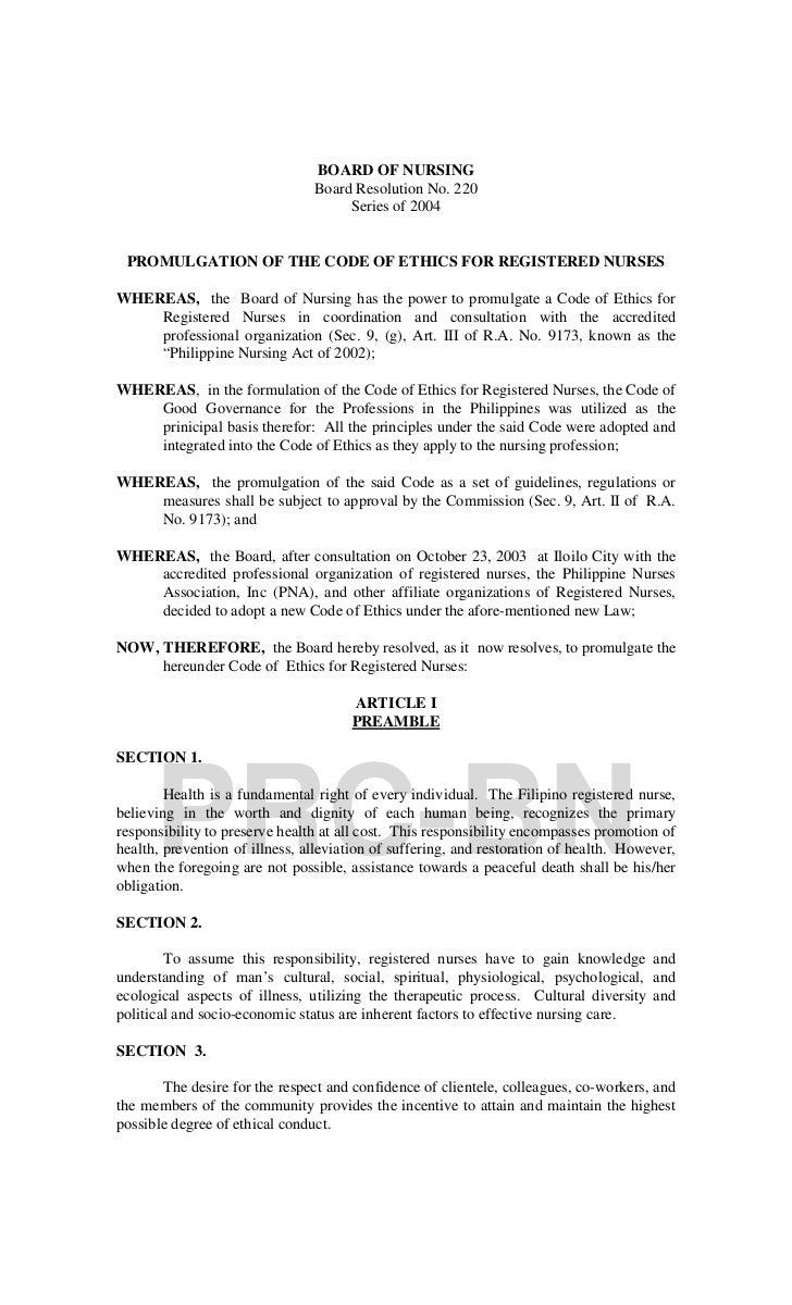 BOARD OF NURSING                                Board Resolution No. 220                                     Series of 200...