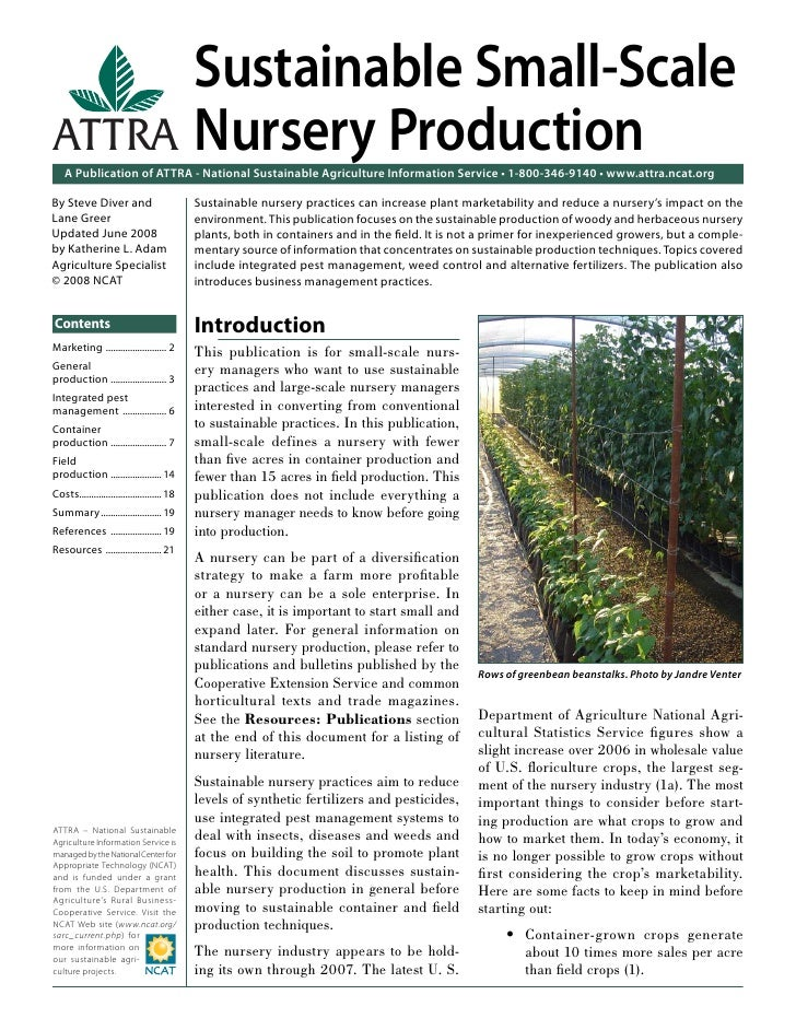Sustainable Small-ScaleATTRA Nursery Production    A Publication of ATTRA - National Sustainable Agriculture Information S...