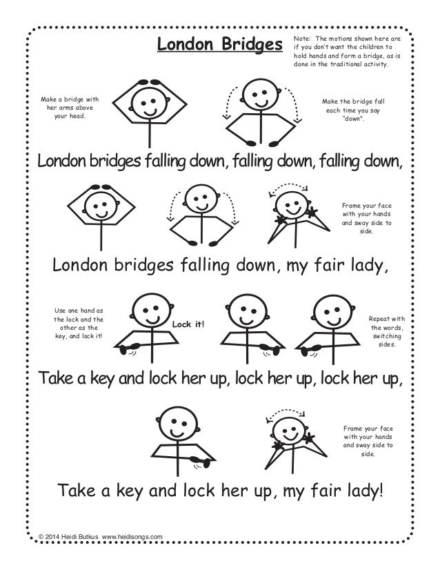 28 nursery rhymes with words and movements for active learning 18 6382014 heidi butkus www heidisongs com london bridges london bridges