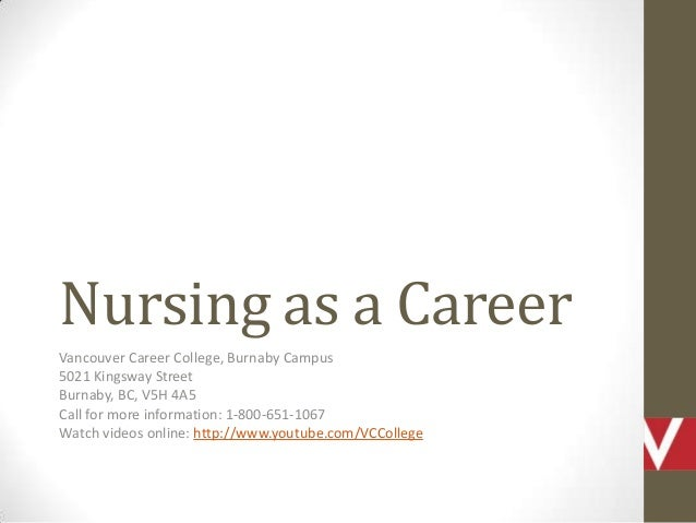 Nursing as a Career Vancouver Career College, Burnaby Campus 5021 Kingsway Street Burnaby, BC, V5H 4A5 Call for more infor...
