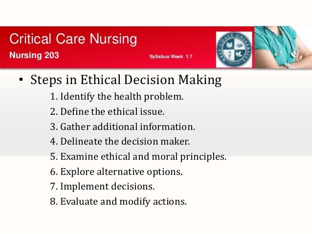 decision making in a nursing ethical dilemma Nurses are faced with ethical dilemmas in clinical practice and research nurses  also  ter framework for ethical decision making (velasquez.