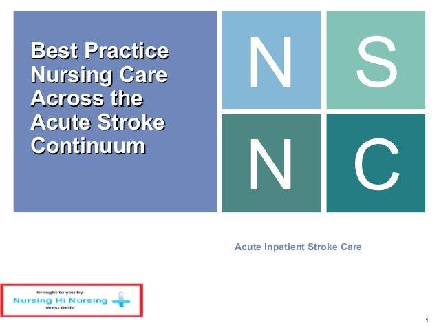 Nursing care across the acute stroke