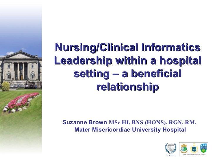 Nursing Clinical Informatics - Suzanne Brown