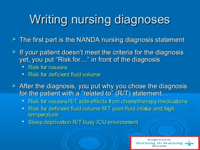 how to write a risk for nursing diagnosis