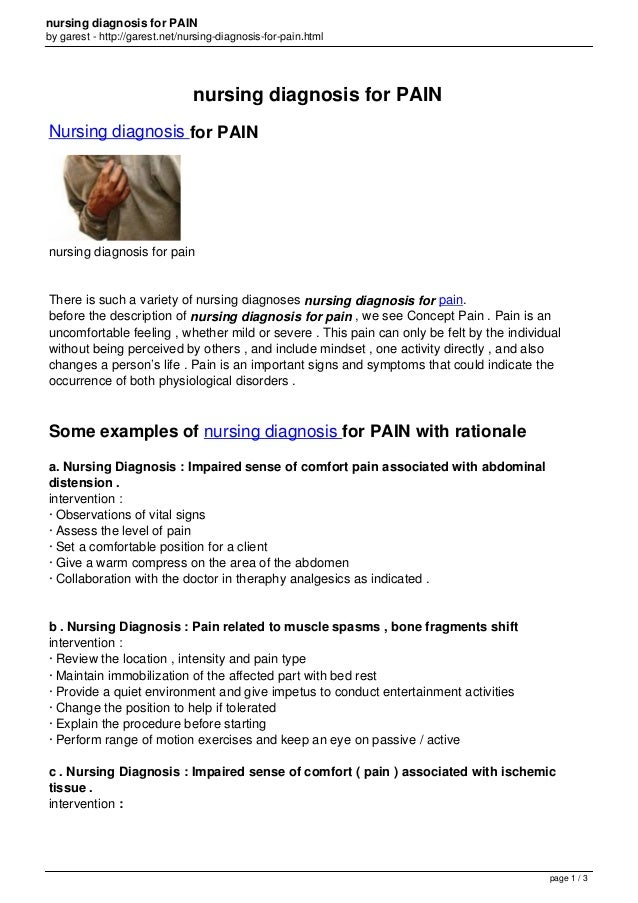 Nursing diagnosis for pain related images
