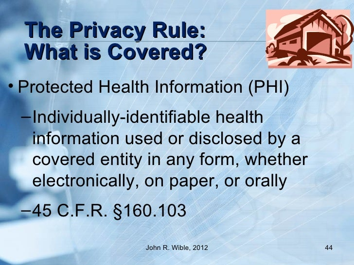 protected health information 160 103