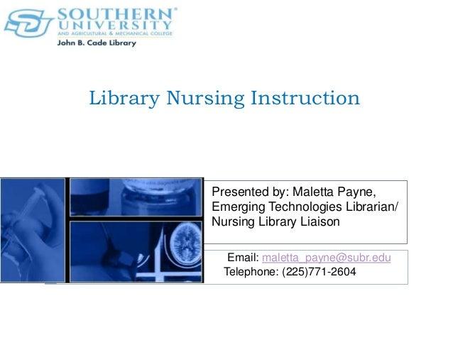 Library Instruction: Nursing Graduate Students
