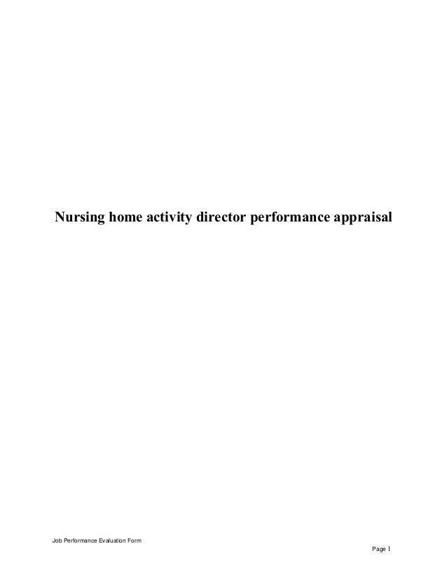 nursing home activity director performance appraisal