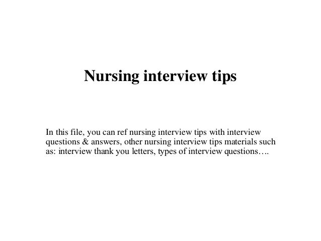 nursing interview tips