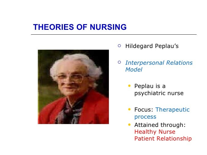 hildegard peplau nursing theory In this paper, the authors will provide information on hildegard peplau's background and her theory her theory will be discussed in relationship.