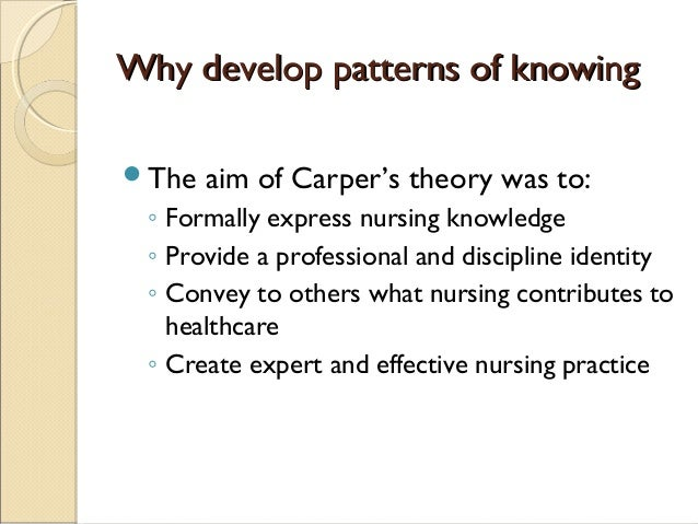 carpers pattern of knowing Fundamental patterns of knowing in nursing carper b comment in aorn j 2009 feb89(2):266 pmid: 110216 [pubmed - indexed for medline] mesh terms.