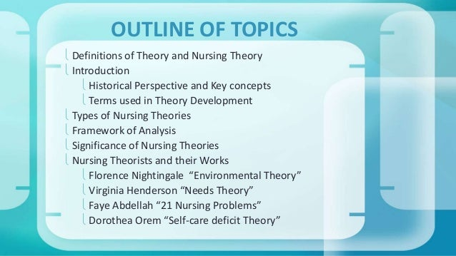 OUTLINE OF TOPICS   Definitions of Theory and Nursing Theory   Introduction   Historical Perspective and Key concepts  ...