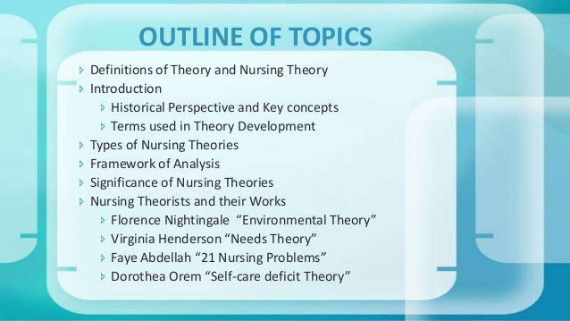 OUTLINE OF TOPICS  Definitions of Theory and Nursing Theory  Introduction  Historical Perspective and Key concepts  Te...