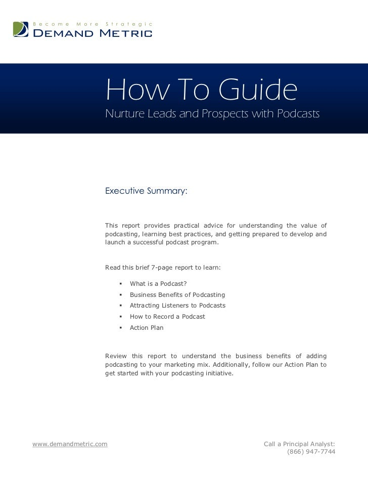 How To Guide                   Nurture Leads and Prospects with Podcasts                   Executive Summary:             ...