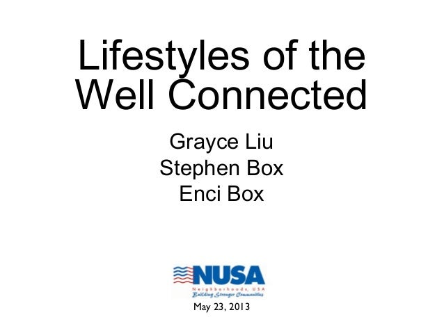 Lifestyles of theWell ConnectedGrayce LiuStephen BoxEnci BoxMay 23, 2013