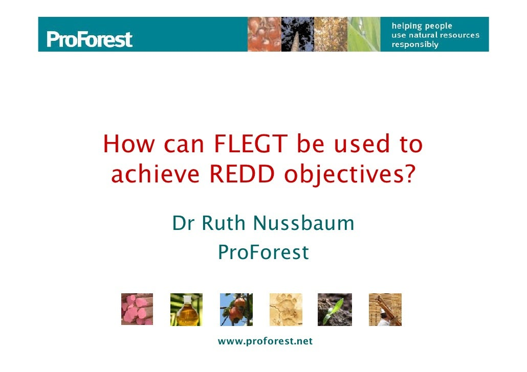How can FLEGT be used to achieve REDD objectives?      Dr Ruth Nussbaum          ProForest             www.proforest.net