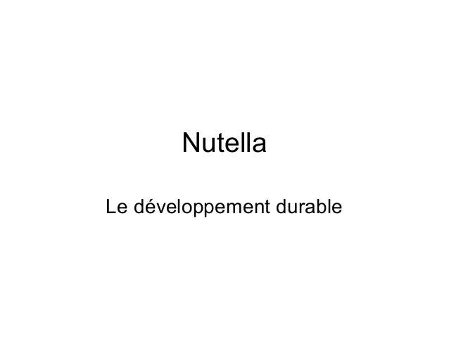 Nutella Le développement durable
