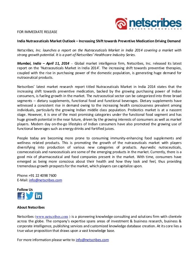 Market Research Report : Nutraceuticals market in india 2014 - Press release
