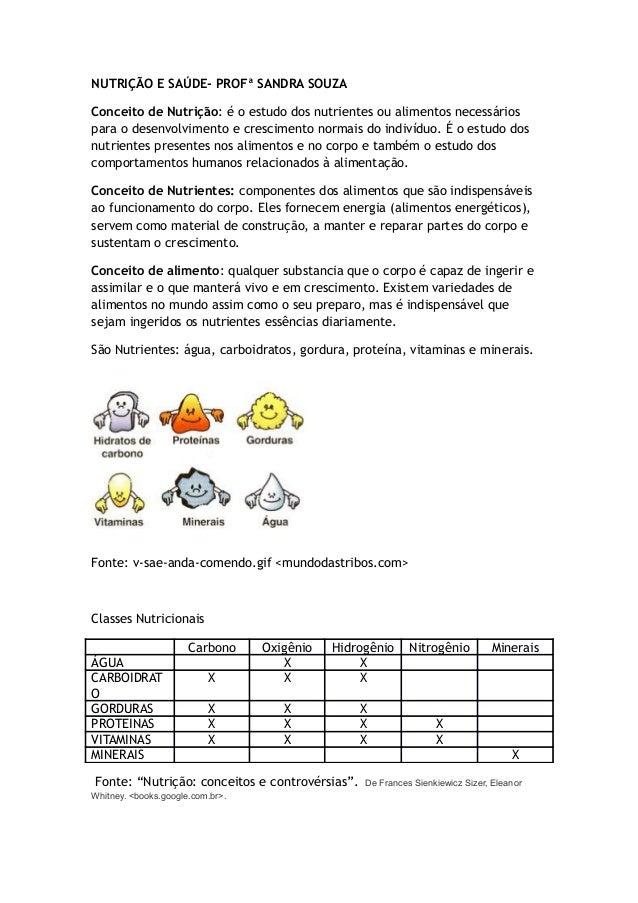 NUTRIÇÃO E SAÚDE- PROFª SANDRA SOUZA Conceito de Nutrição: é o estudo dos nutrientes ou alimentos necessários para o desen...