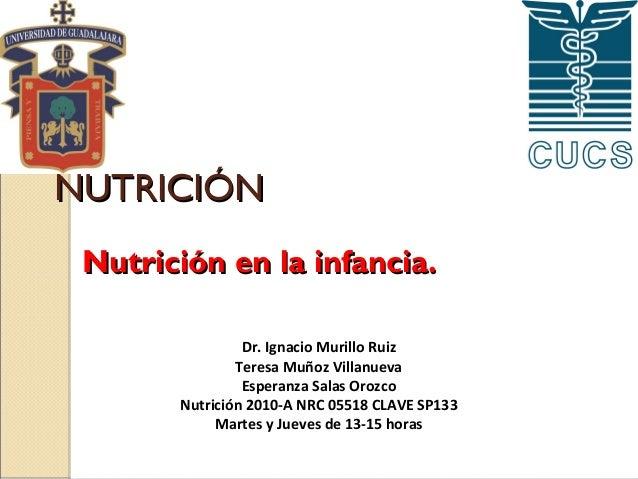 NUTRICIÓN Nutrición en la infancia. Dr. Ignacio Murillo Ruiz Teresa Muñoz Villanueva Esperanza Salas Orozco Nutrición 2010...