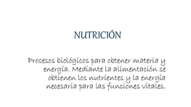 NUTRICIÓN Procesos biológicos para obtener materia y energía. Mediante la alimentación se obtienen los nutrientes y la ene...