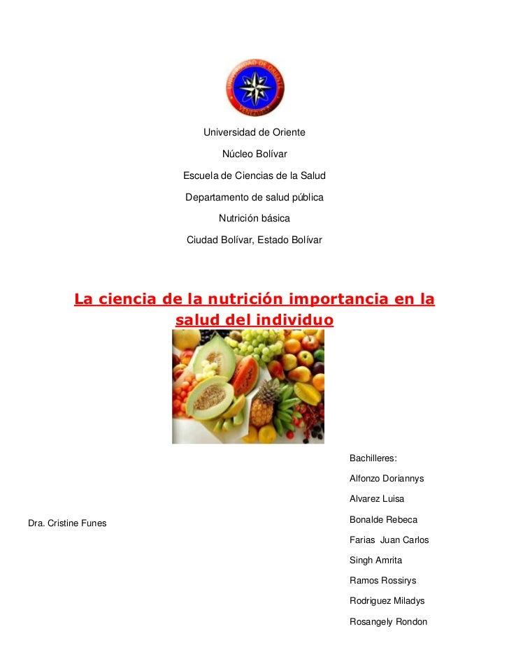 Universidad de Oriente                                Núcleo Bolívar                        Escuela de Ciencias de la Salu...