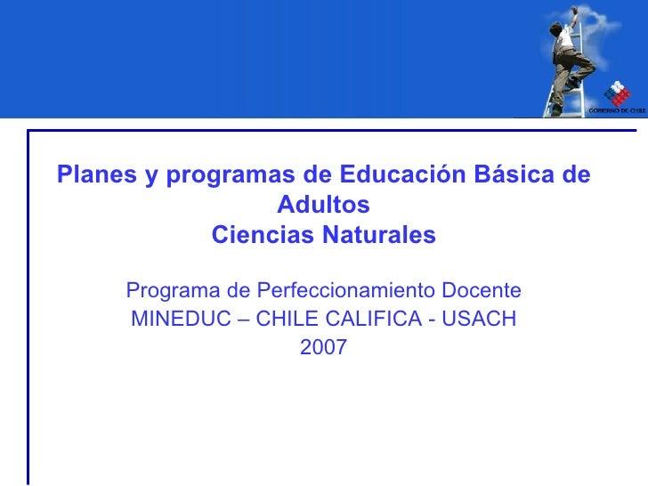 Planes y programas de Educación Básica de Adultos Ciencias Naturales Programa de Perfeccionamiento Docente MINEDUC – CHILE...