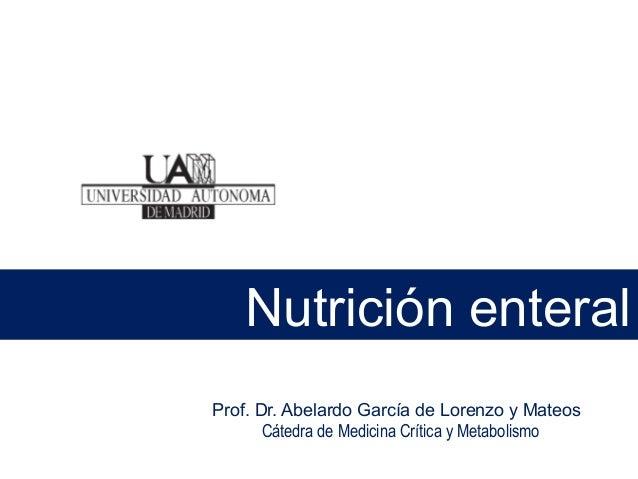 Prof. Dr. Abelardo García de Lorenzo y Mateos Cátedra de Medicina Crítica y Metabolismo Nutrición enteral