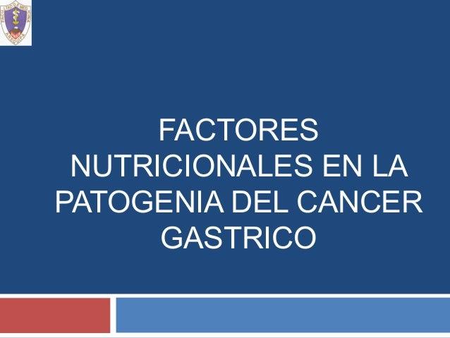 FACTORES NUTRICIONALES EN LA PATOGENIA DEL CANCER GASTRICO ALUMNO:  RUDY PAUCARA FACULTAD DE MEDICINA UNSA