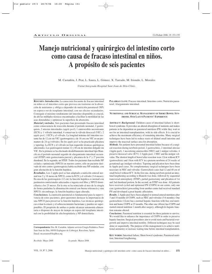 Cir pediatr 19/3    28/9/06        10:30       Página 151             ARTICULO ORIGINAL                                   ...