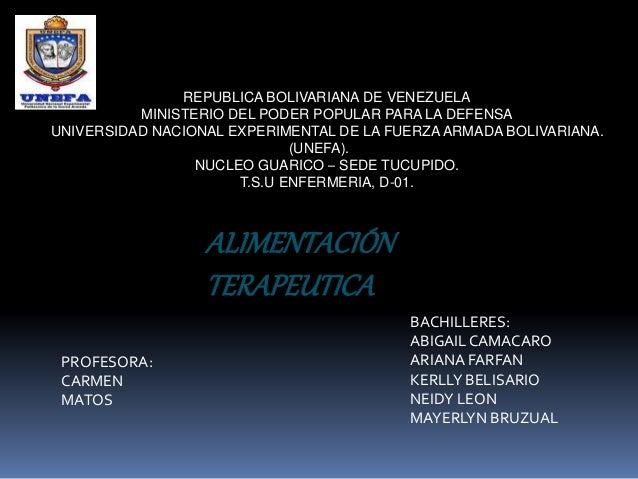 REPUBLICA BOLIVARIANA DE VENEZUELA MINISTERIO DEL PODER POPULAR PARA LA DEFENSA UNIVERSIDAD NACIONAL EXPERIMENTAL DE LA FU...