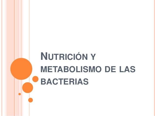 NUTRICIÓN Y METABOLISMO DE LAS BACTERIAS