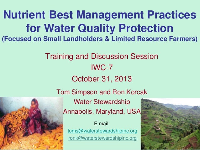 Nutrient Best Management Practices for Water Quality Protection (Focused on Small Landholders & Limited Resource Farmers) ...