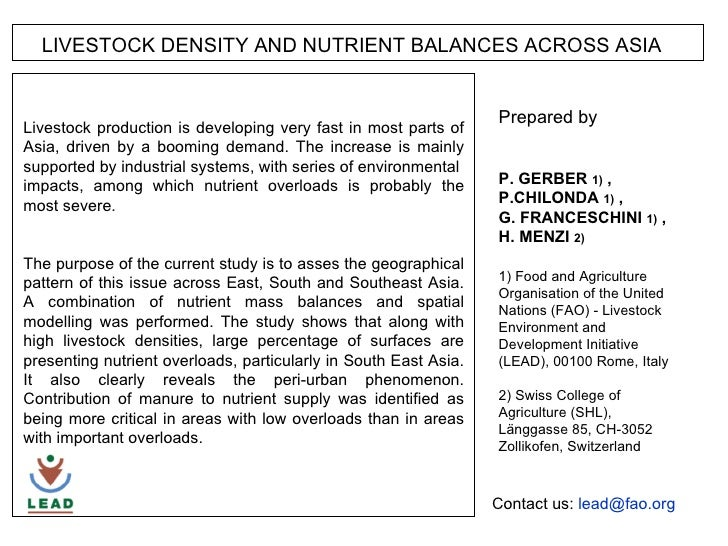 LIVESTOCK DENSITY AND NUTRIENT BALANCES ACROSS ASIA 1000 km Prepared by  P P. GERBER  1)  , P.CHILONDA  1)  ,  G. FRANCESC...