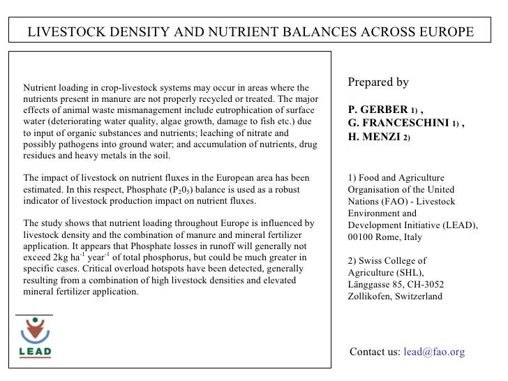 LIVESTOCK DENSITY AND NUTRIENT BALANCES ACROSS EUROPE Prepared by  P. GERBER  1)  ,  G. FRANCESCHINI  1)  ,  H. MENZI  2) ...