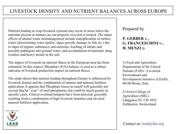 Livestock density and nutrient balanSces across Europe