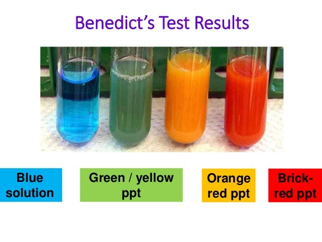 1 find amount reducing sugars and starch yelloe and green 1 sugar with benedict's solution 2 protein with biuret solution 3 fat with sudan iii  color to green, yellow, and brick-red, depending on the amount of sugar.
