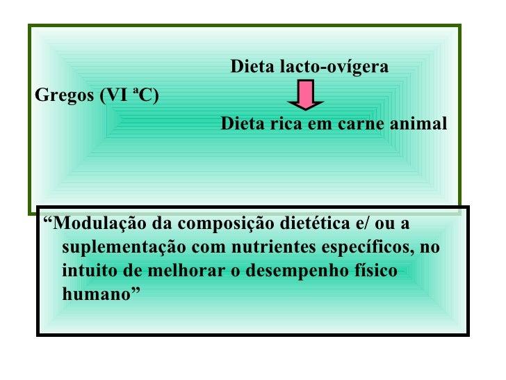 <ul><li>Dieta lacto-ovígera </li></ul><ul><li>Gregos (VI ªC) </li></ul><ul><li>Dieta rica em carne animal </li></ul><ul><l...