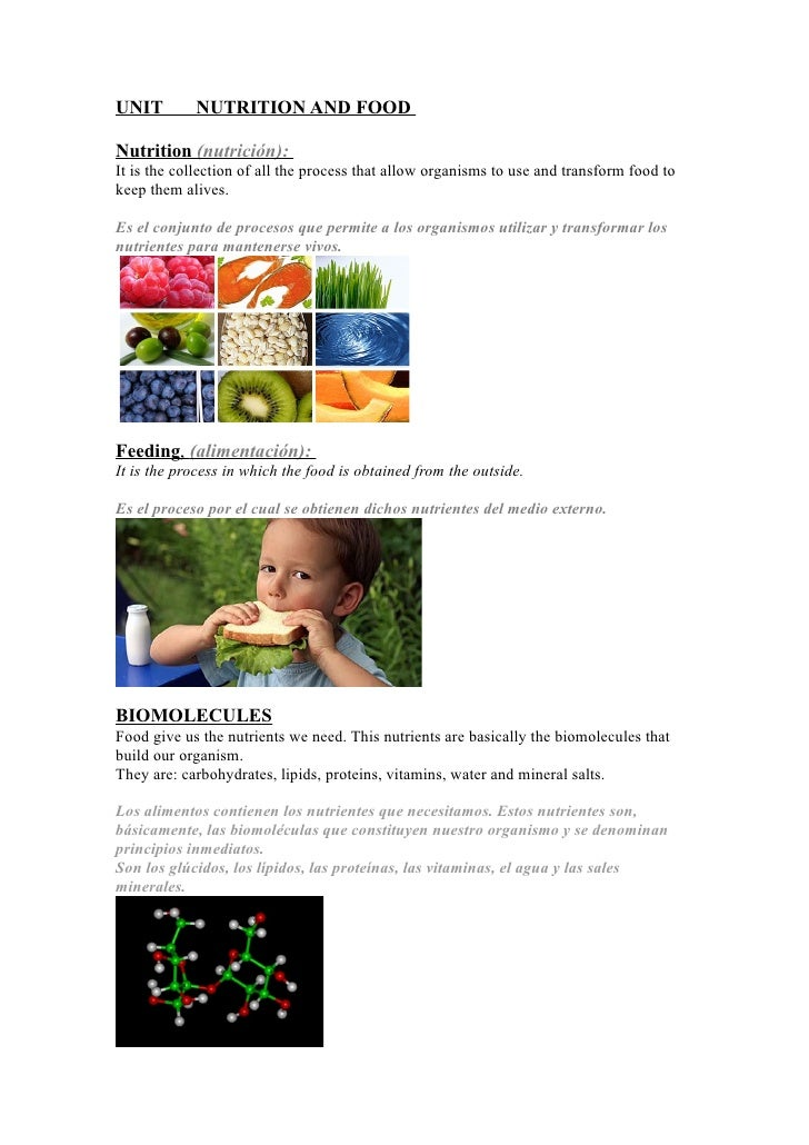 UNIT        NUTRITION AND FOOD  Nutrition (nutrición): It is the collection of all the process that allow organisms to use...