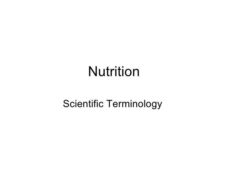 Nutrition Scientific Terminology