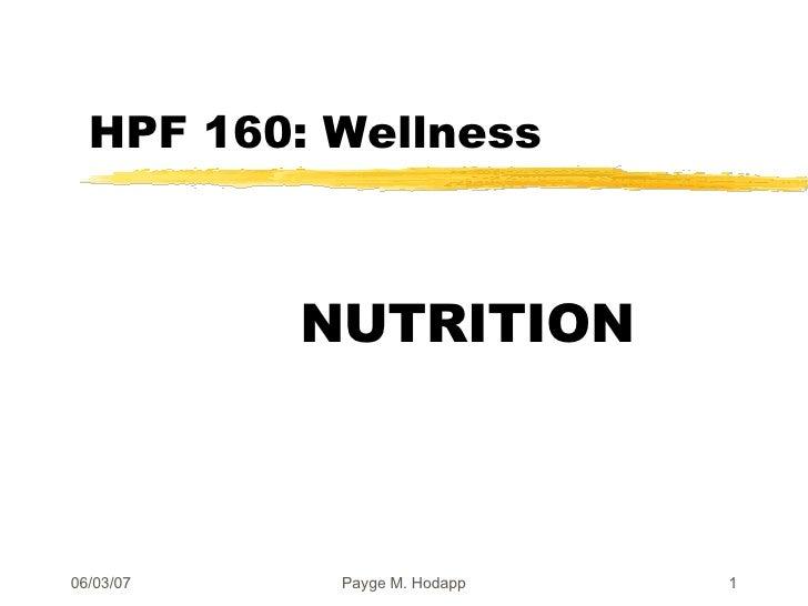 HPF 160: Wellness NUTRITION