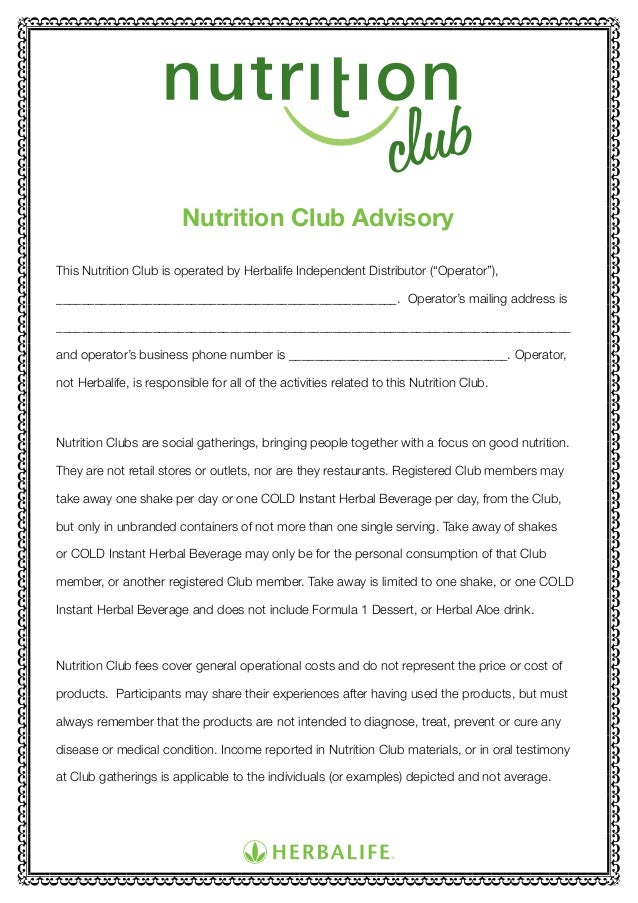 Nutrition club-guidelines