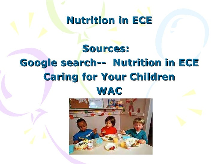 Nutrition in ECE Sources:  Google search--  Nutrition in ECE Caring for Your Children WAC